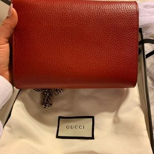 Gucci Bags - Gucci Leather Crystal Dionysus Flap bag Red
